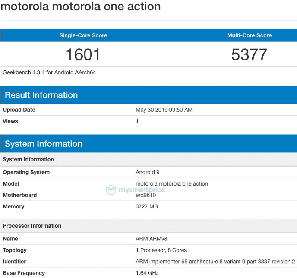 Sforum - Latest information technology Motorola-One-Action-Geekbench Motorola One Action appears on Geekbench, uses Exynos 9609 chip, has 4GB RAM and runs Android 9 Pie