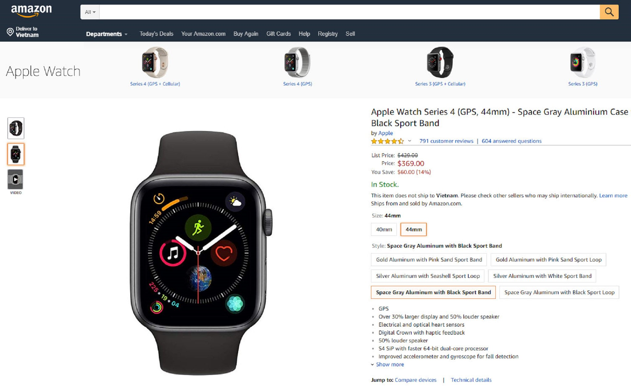 Amazon $ 60 discount Apple Watch series 4 both 40mm and 44mm versions, priced from $ 339