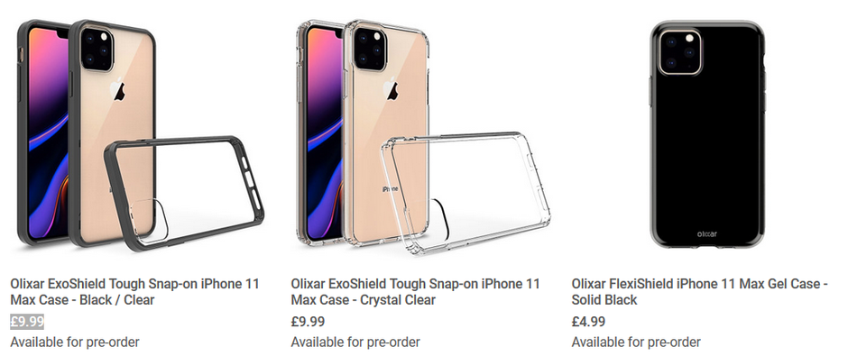 Three of the case renders produced by Olixar for the Apple iPhone 11 Max