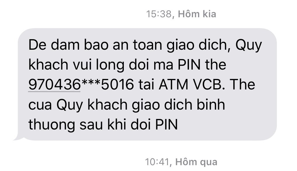 Do you use Vietcombank to request to change your ATM card PIN?