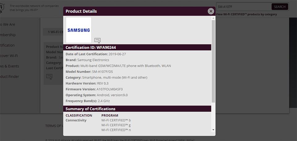 Sforum - The latest technology information page common-nhan-WiFi Galaxy A10s has just obtained very important certification before going to the market