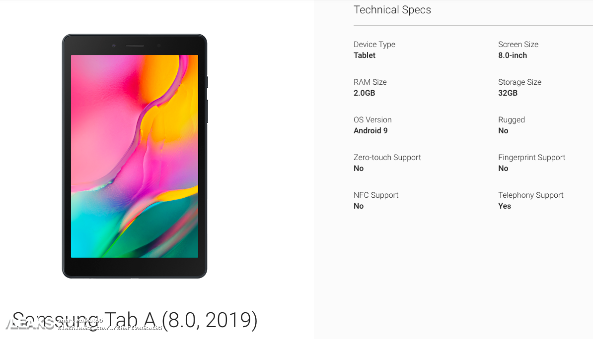 Sforum - Latest technology information page samsung-galaxy-tab-a-8.0-2019 specs-leaked Galaxy Tab A 8.0 (2019) revealed photos and configuration parameters: Snapdragon 429, 2GB RAM, estimated price of USD 150