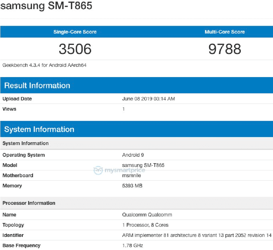 Sforum - Latest technology information page Samsung-SM-T865-on-Geekbench Galaxy Tab S5 revealed configuration: Snapdragon 855, 6GB RAM and running Android 9 Pie