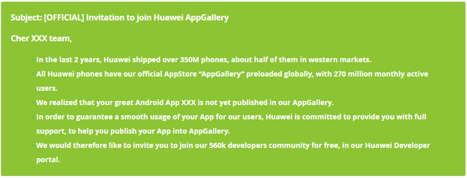 Sforum - Huawei's latest technology information site Huawei is urging developers to put apps on their AppGallery store.