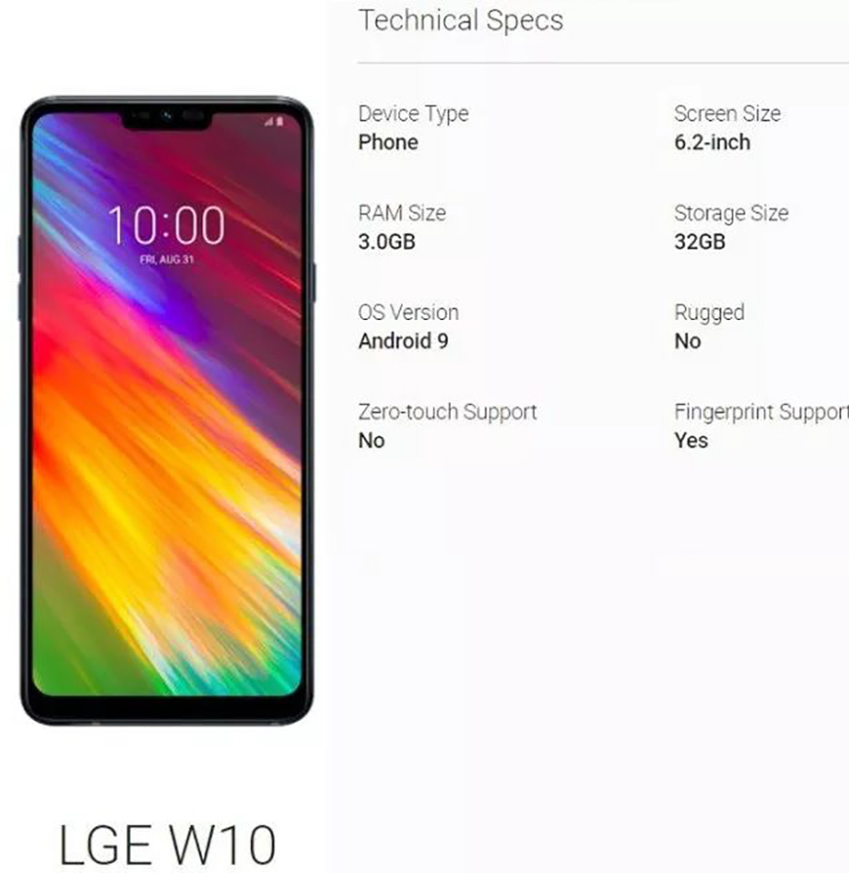 """Sforum - Latest technology information page LG-W10-Android-Enterprise LG W10 appears: 6.2 inch """"rabbit ears"""" screen, 3GB RAM, 32GB internal memory and running Android 9 Pie"""