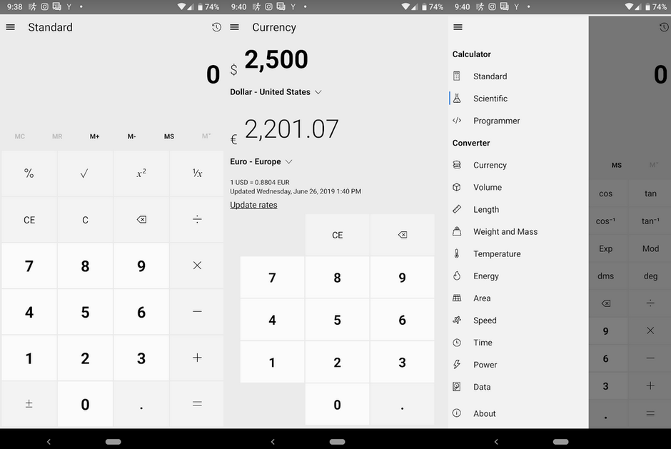 The Windows 10 calculator app has been ported to Android, iOS and the web