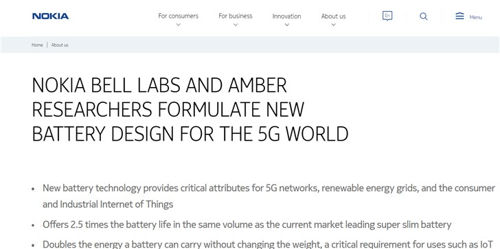 Sforum - Latest technology information page 20190622_101802_332 Nokia is developing new battery technology with 2.5 times the capacity