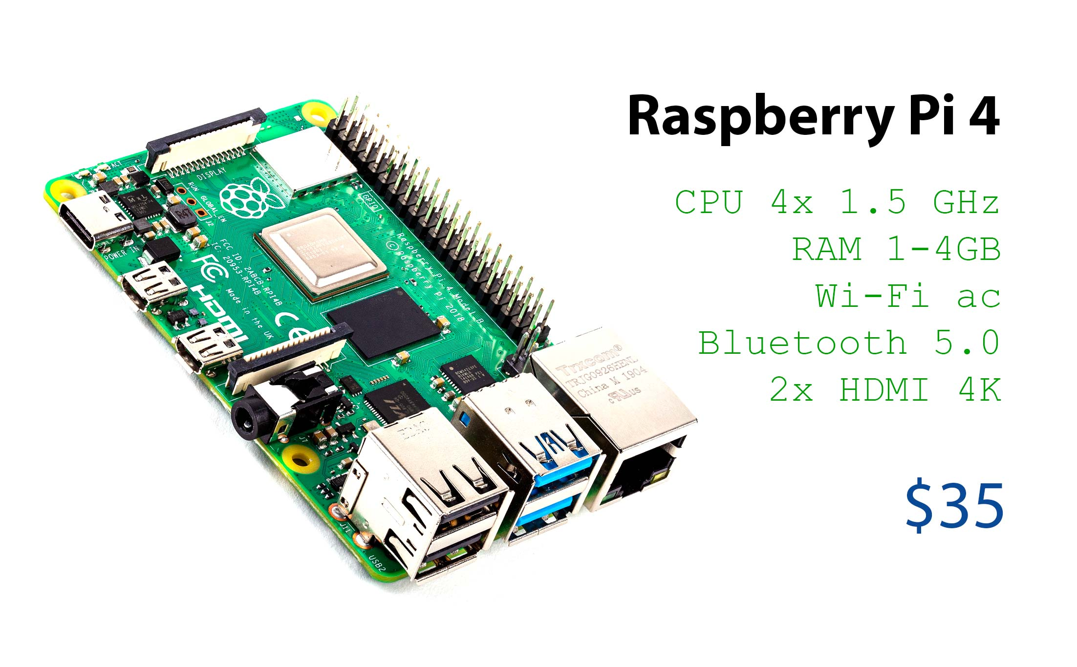 Official Raspberry Pi 4: 3 times faster CPU, 2 4K screen output, faster connection, cost from $ 35