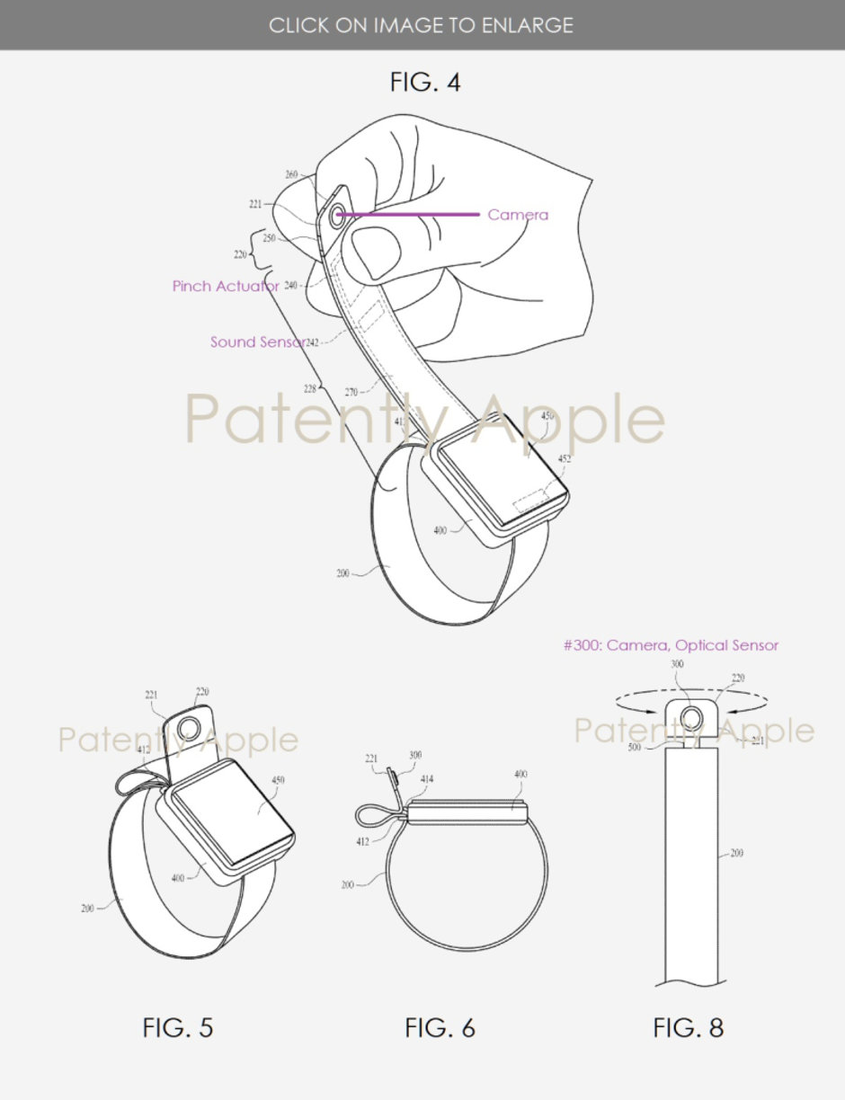Apple receives a patent for the placement of a rotatable camera on a watch band