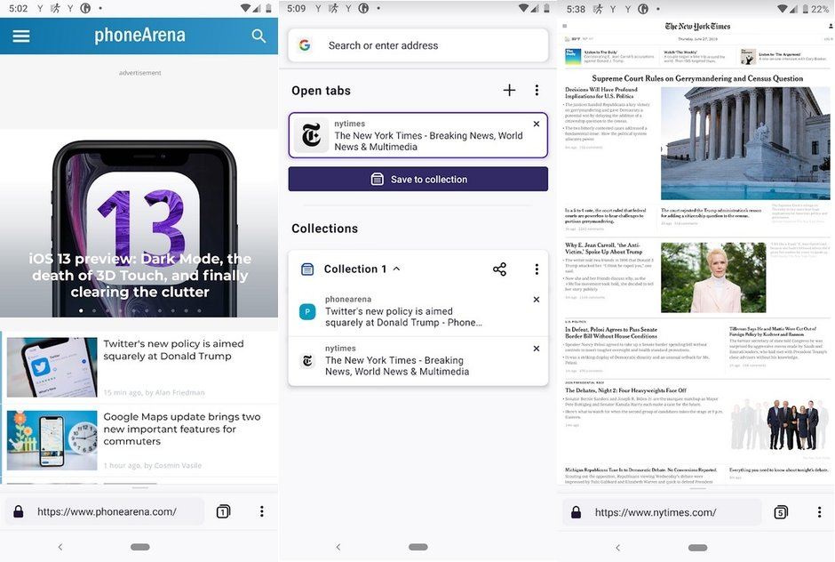 Screenshots from Firefox Preview, available in the Google Play Store