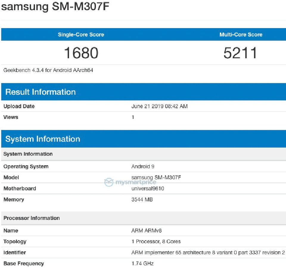 Sforum - The latest technology information page Geekbench-2 Samsung Galaxy M30s was discovered on Geekbench with Exynos 9610, 4GB RAM and running Android 9 Pie