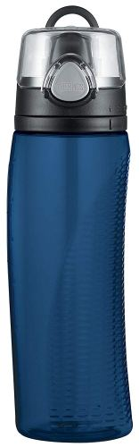 plastic water bottle with flip lid from thermos