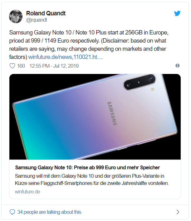 Leaking retail price of Galaxy Note 10 in Europe: $ 1,126 for the standard version, $ 1,296 for the Note 10 Plus version - Photo 1.