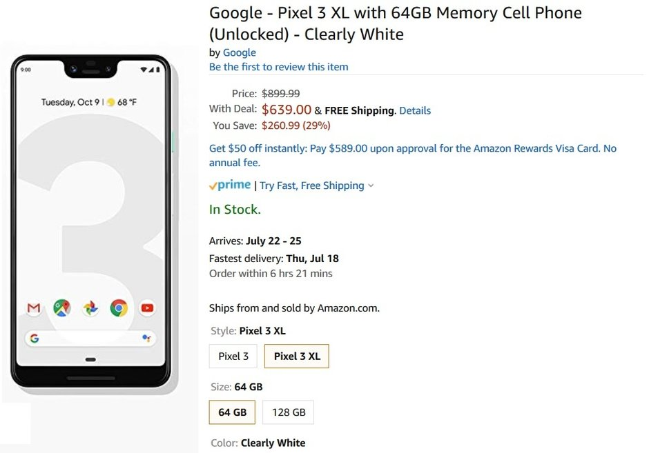 Save $260 on the unlocked 64GB Pixel 3 and Pixel 3 XL in Clearly White at Amazon