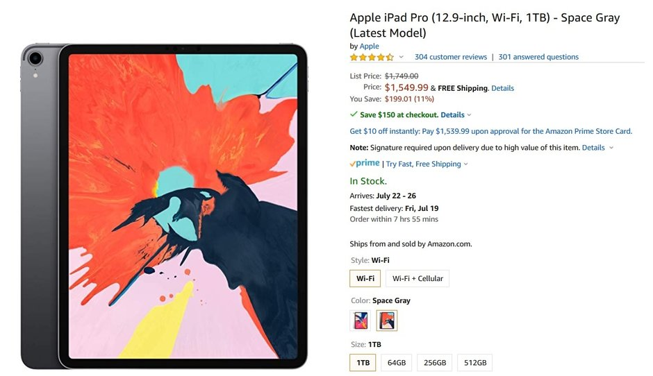 Save up to $350 on a Wi-Fi only 12.9-inch Apple iPad Pro at Amazon