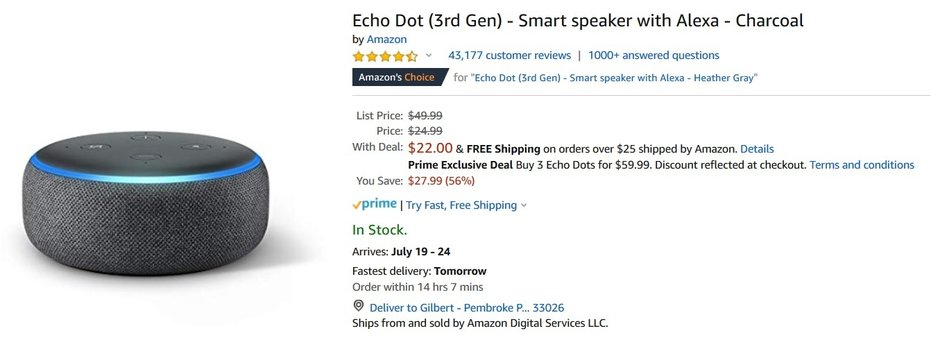 The Amazon Echo Dot is priced at $22, an all time low