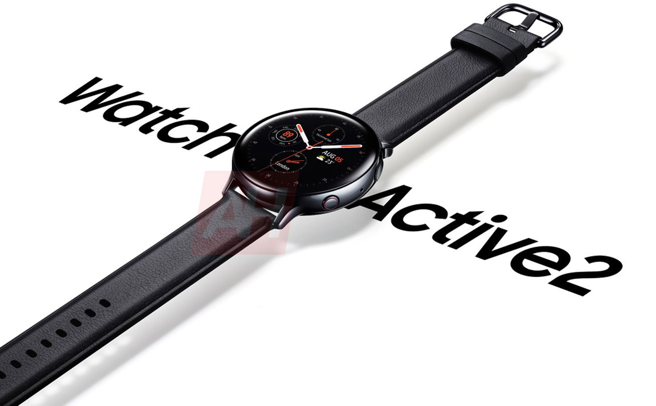 Sforum - Latest technology information page 4714320_cover_Samsung-Galaxy-Watch-Active2-AH-Leak-01 A sharp render of Galaxy Watch Active 2 is displayed: Red ring button, integrated ECG ECG