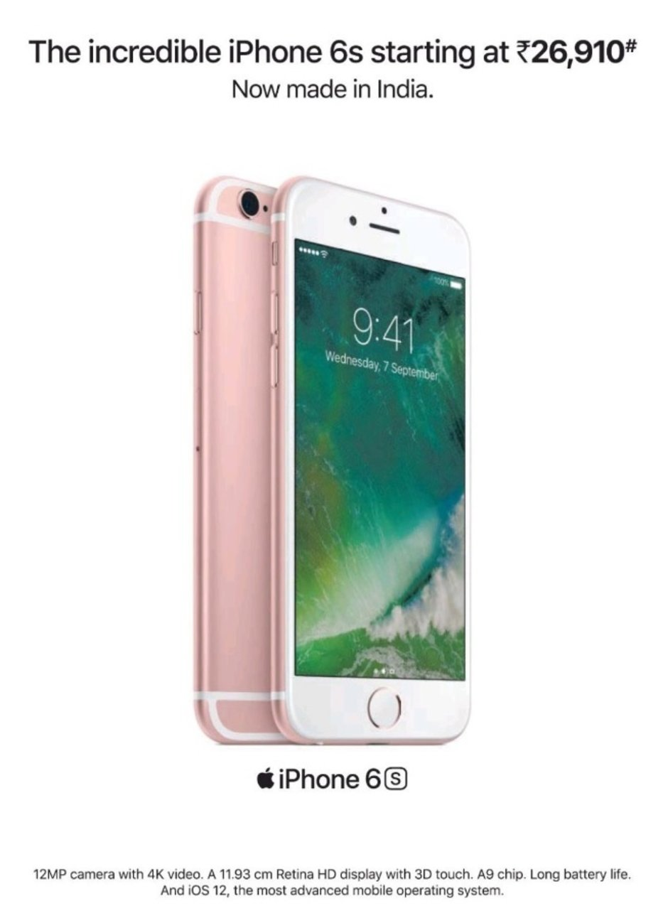 The Apple iPhone 6s is marketed in India for the equivalent of $393.42 USD
