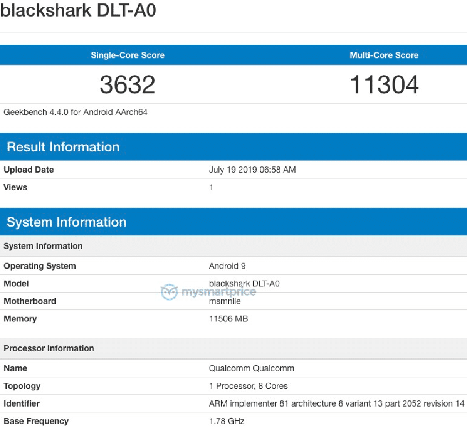 Sforum - Information page of the latest technology black-shark-2-pro-geekbench Black Shark 2 Pro revealed a tremendous performance on Geekbench with Snapdragon 855+ chip, 12GB RAM