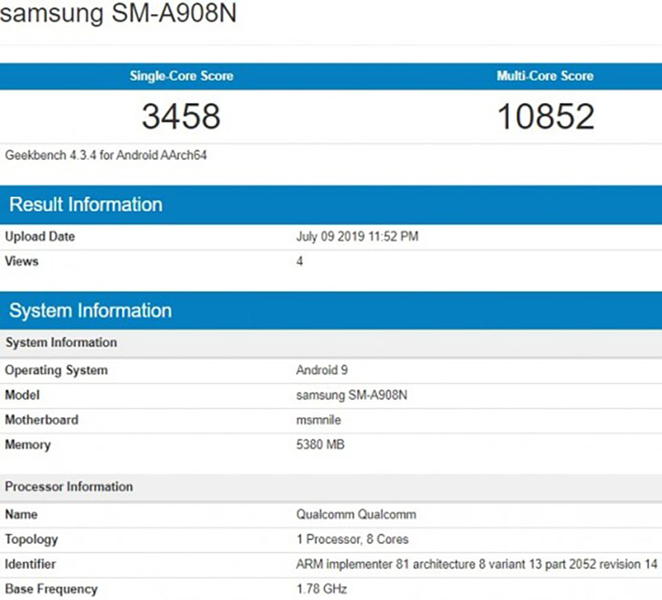 Sforum - The latest technology information page Galaxy-A90-5G-Geekbench-1 Galaxy A90 5G revealed a terrible benchmark on Geekbench with Snapdragon chip 855, 6GB RAM
