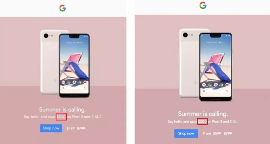 Some Android users received an email showing a deeper, but incorrect $300 discount on the Pixel 3 and Pixel 3 XL