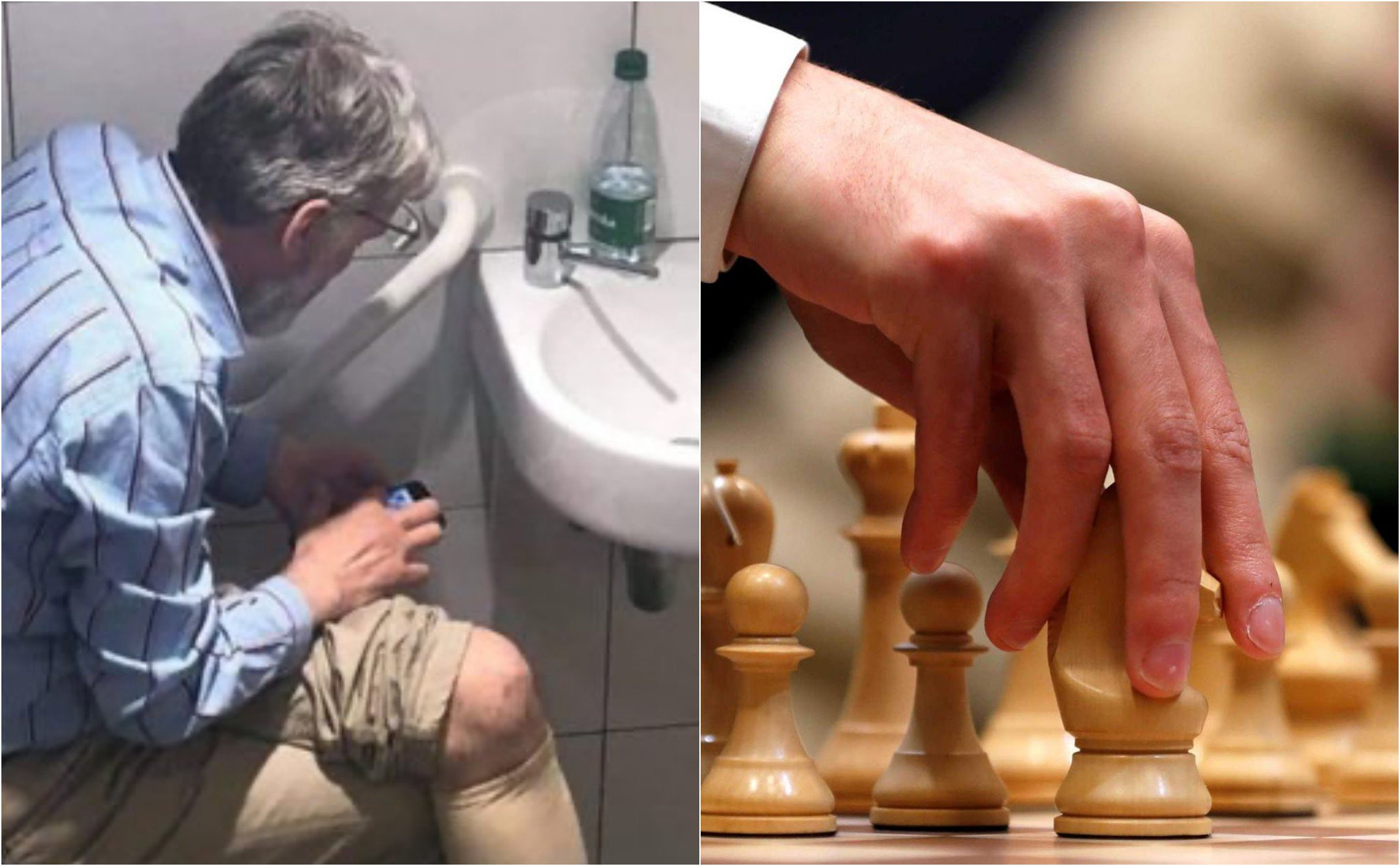 Grandmaster chess cheating, holding the phone into the WC watching the water go between games