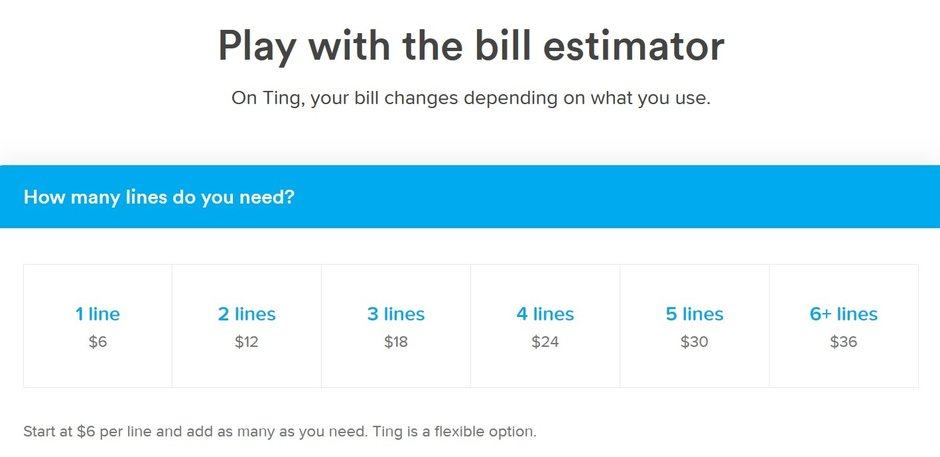 The bill estimate, found on the Ting website, can help subscribers calculate how much their monthly bill might be