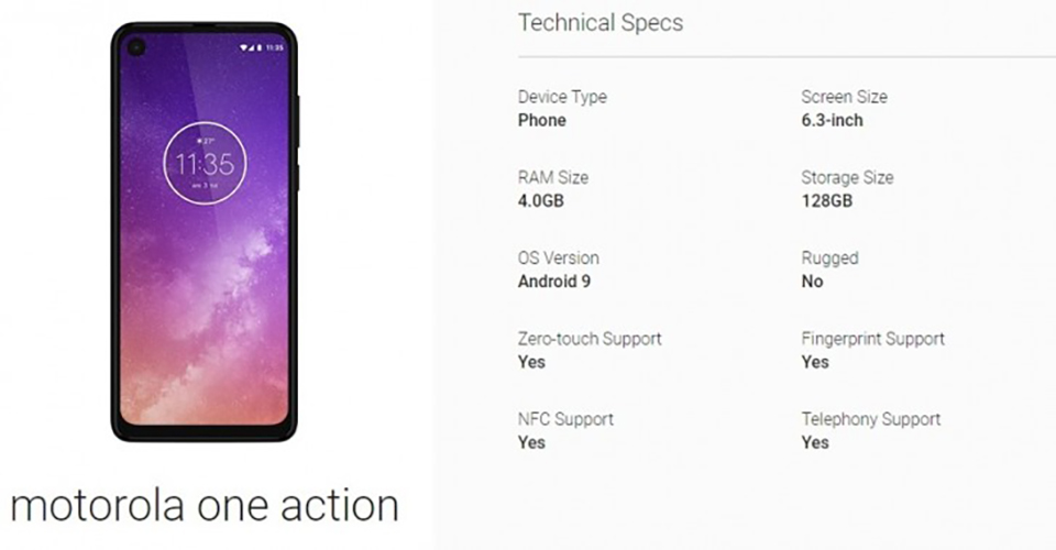 Sforum - Motorola-One-Action-hinh-hinh latest technology page-1 Motorola One Action exposes photos with detailed configuration: Perforated screen, Exynos 9609 chip, running Android 9 Pie