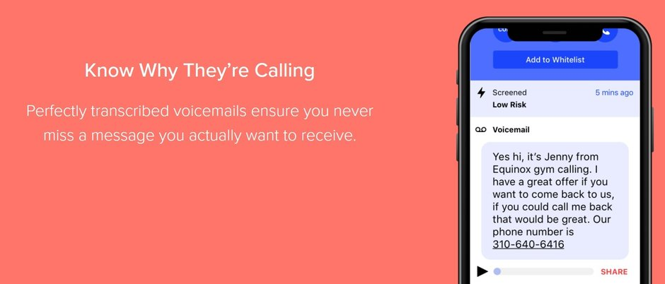 With Firewall, you can read a transcription of voice mail left by a blocked caller
