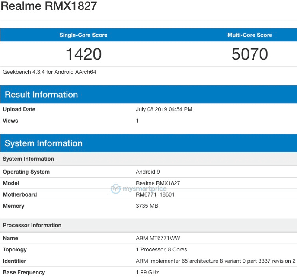 Sforum - Latest technology information page Realme-3i-Geekbench Realme 3i has just been revealed on Geekbench, confirmed to use the Helio P60 chip, has 4Gb RAM and runs Android 9 Pie
