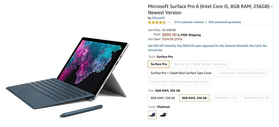 Amazon has the Surface Pro 6 on sale for $304 or 25% off