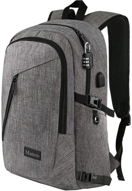 grey mancro backpack on a white background