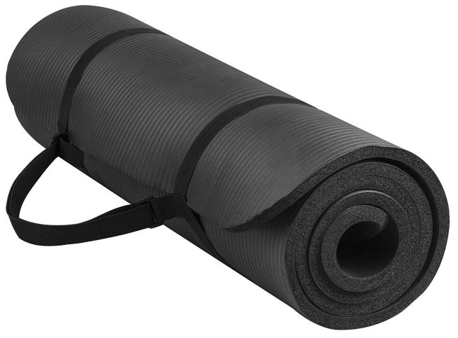 thick black mat rolled up on a white background