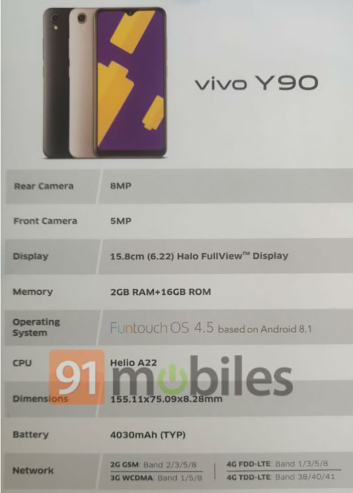 Sforum - Latest technology information page Vivo-Y90-leak Cheap smartphone Vivo Y90 shows up almost all the configuration before the launch date