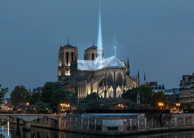 Design firm created Apple Store proposed to restore Paris Notre Dame Cathedral with roof and glass bell tower - Photo 1.