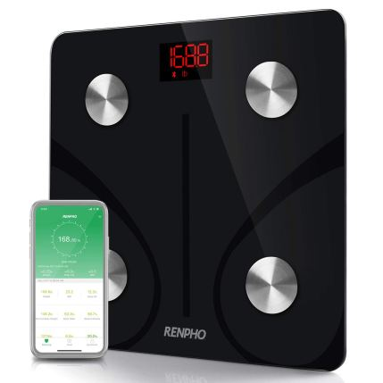 the rehpho bmi scale along with a smartphone showing its smartphone app on a white background