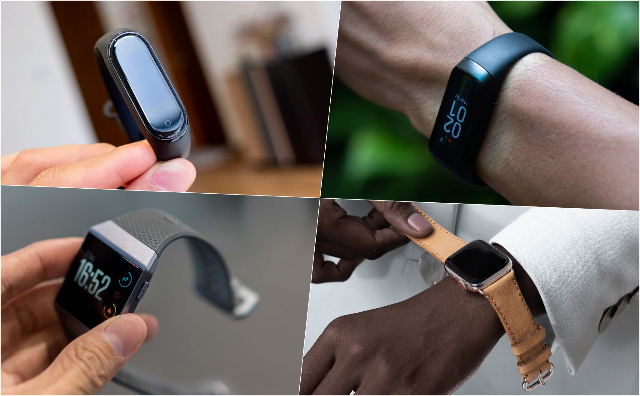 Which lights up the screen before raising your hand? AW, Miband4, FitE, Ionic