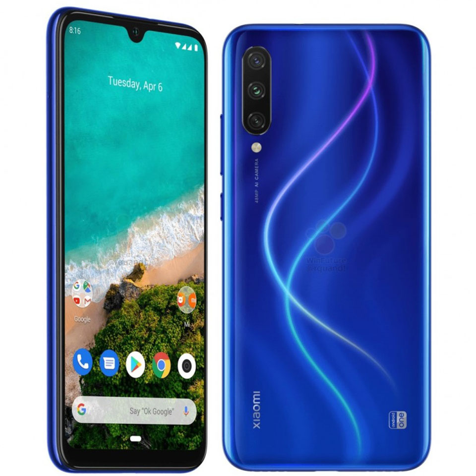 Sforum - The latest technology information page Xiaomi-Mi-A3-anh-render-1 Xiaomi Mi A3 shows a rendered image with detailed configuration: Water drop screen, 3 rear cameras, Snapdragon 665