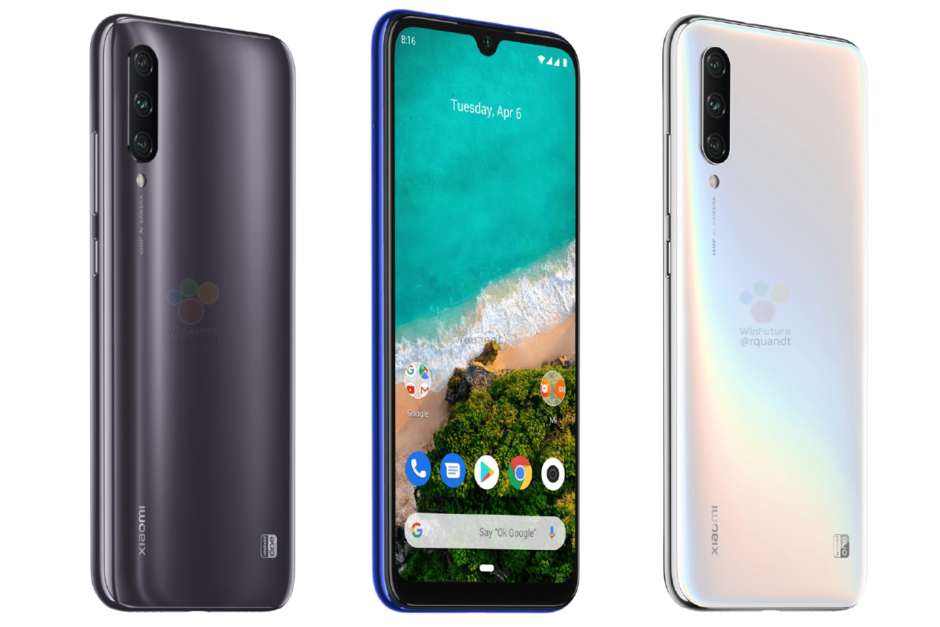 Xiaomi Mi A3 in black, blue, and white