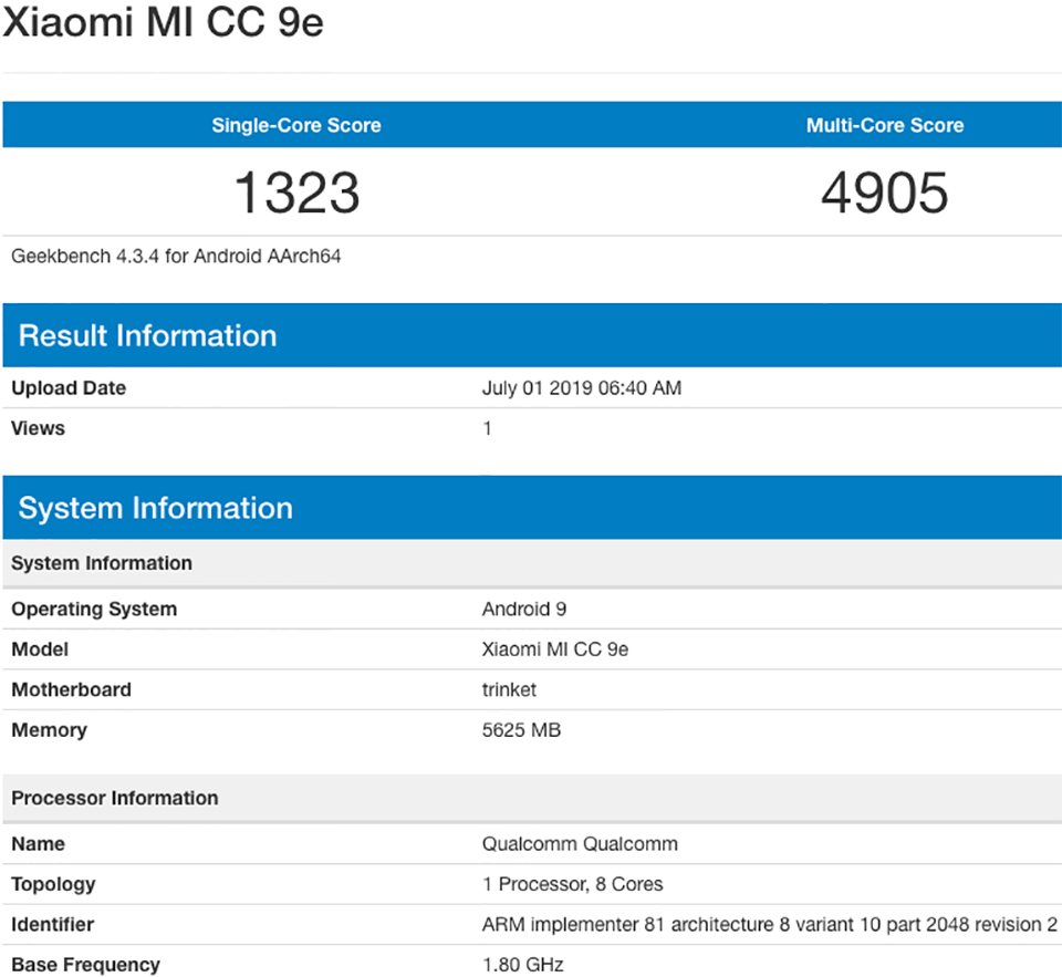 Sforum - The latest technology information page Xiaomi-Mi-CC9e-Geekbench-1 Xiaomi Mi CC9e has been confirmed to the Geekbench configuration before the launch date.