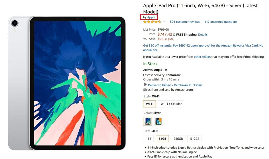 Amazon sells Apple devices sourced directly from the company, like this iPad Pro model - Amazon