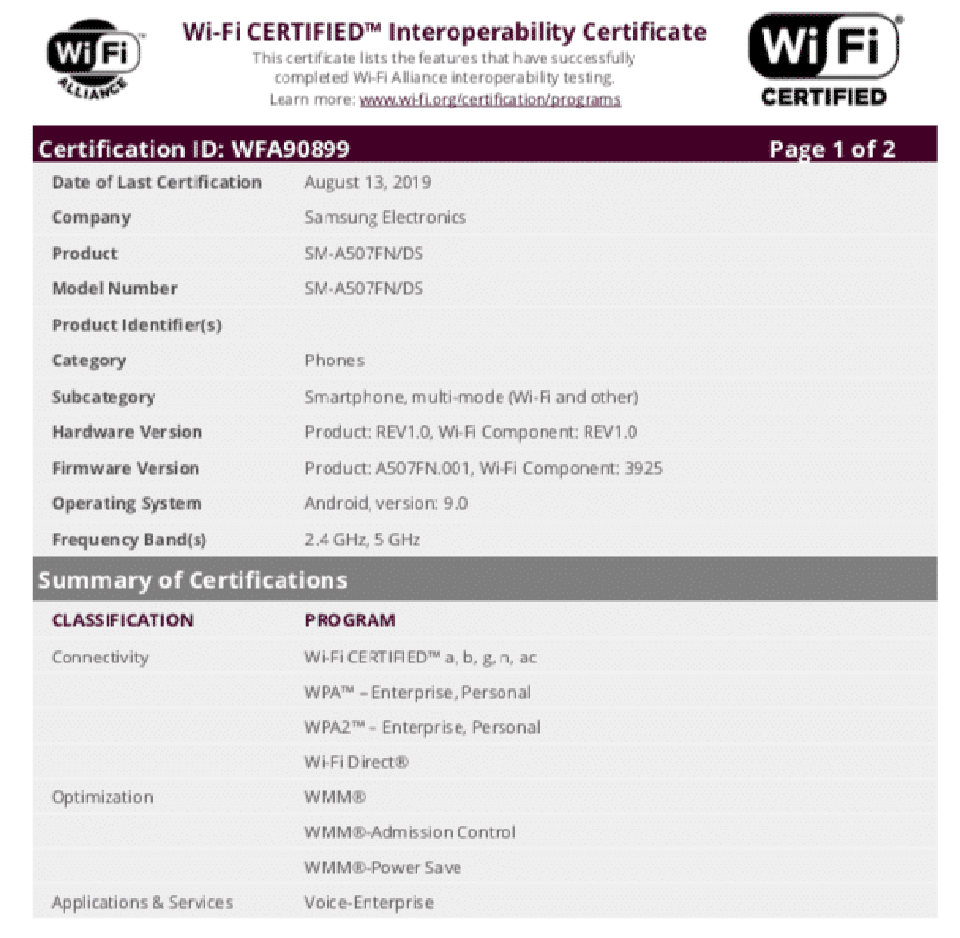 Sforum - Galaxy A50s Galaxy-a50s-wifi-alliance latest technology information page continues to show up, Full-HD +, Exynos 9610 screen, will soon be available