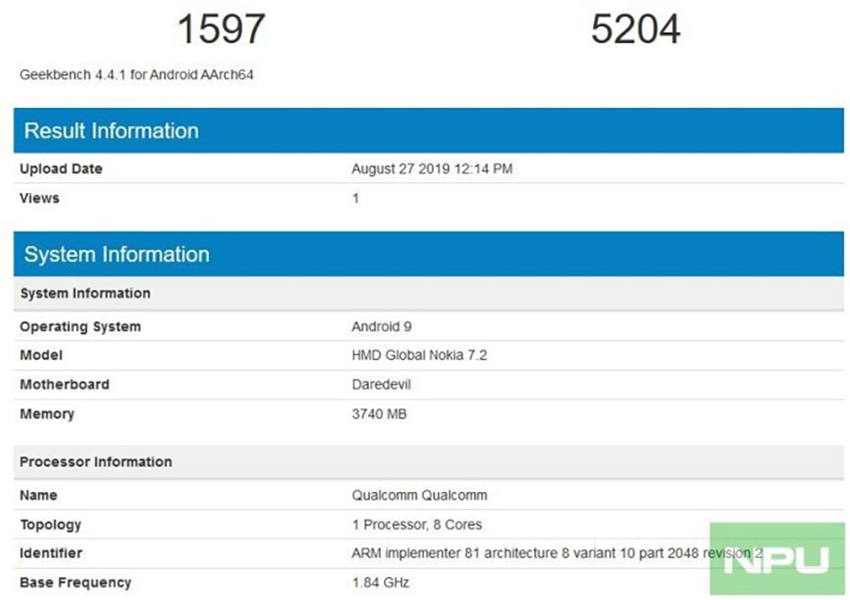 Sforum - Latest technology information page Nokia-7-2-Daredevil-4GB-RAM Nokia 7.2 4GB RAM version appeared on Geekbench with Snapdragon 660, average performance score