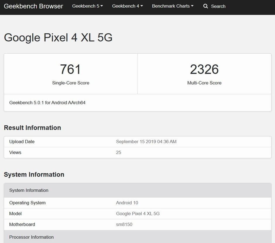 Geekbench test reveals the possible existence of a Pixel 4 XL 5G variant with 8GB of RAM - 5G variant of the Google Pixel 4 XL surfaces with 8GB of RAM