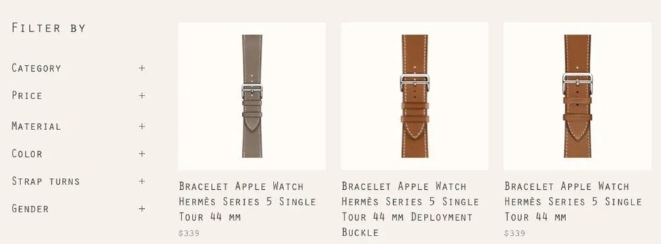 Images on the Hermes website show the results of a search for Series 5 watch bands - Apple partner accidentally tips off existence of Apple Watch Series 5