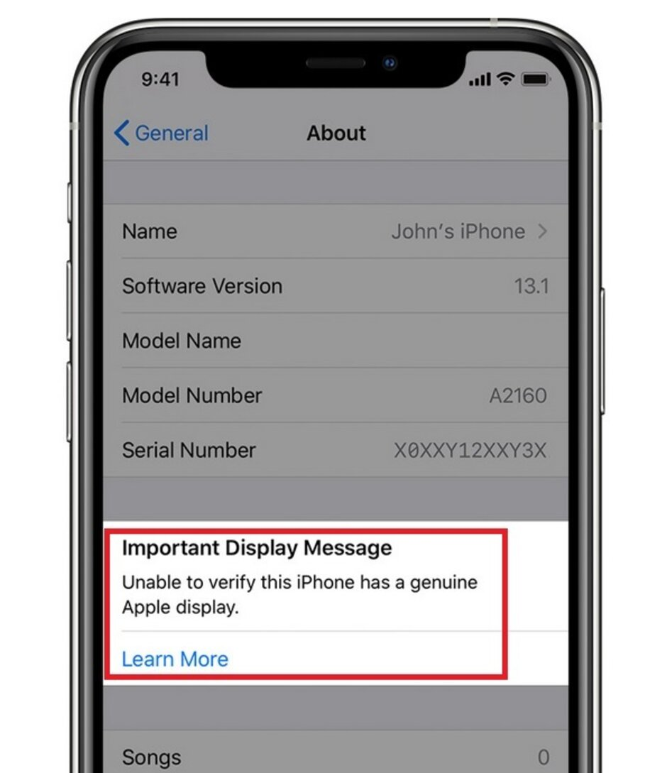 Apple will alert you if your new iPhone cannot verify the authenticity of a display replacement - Apple warns 2019 iPhone owners not to use third party displays