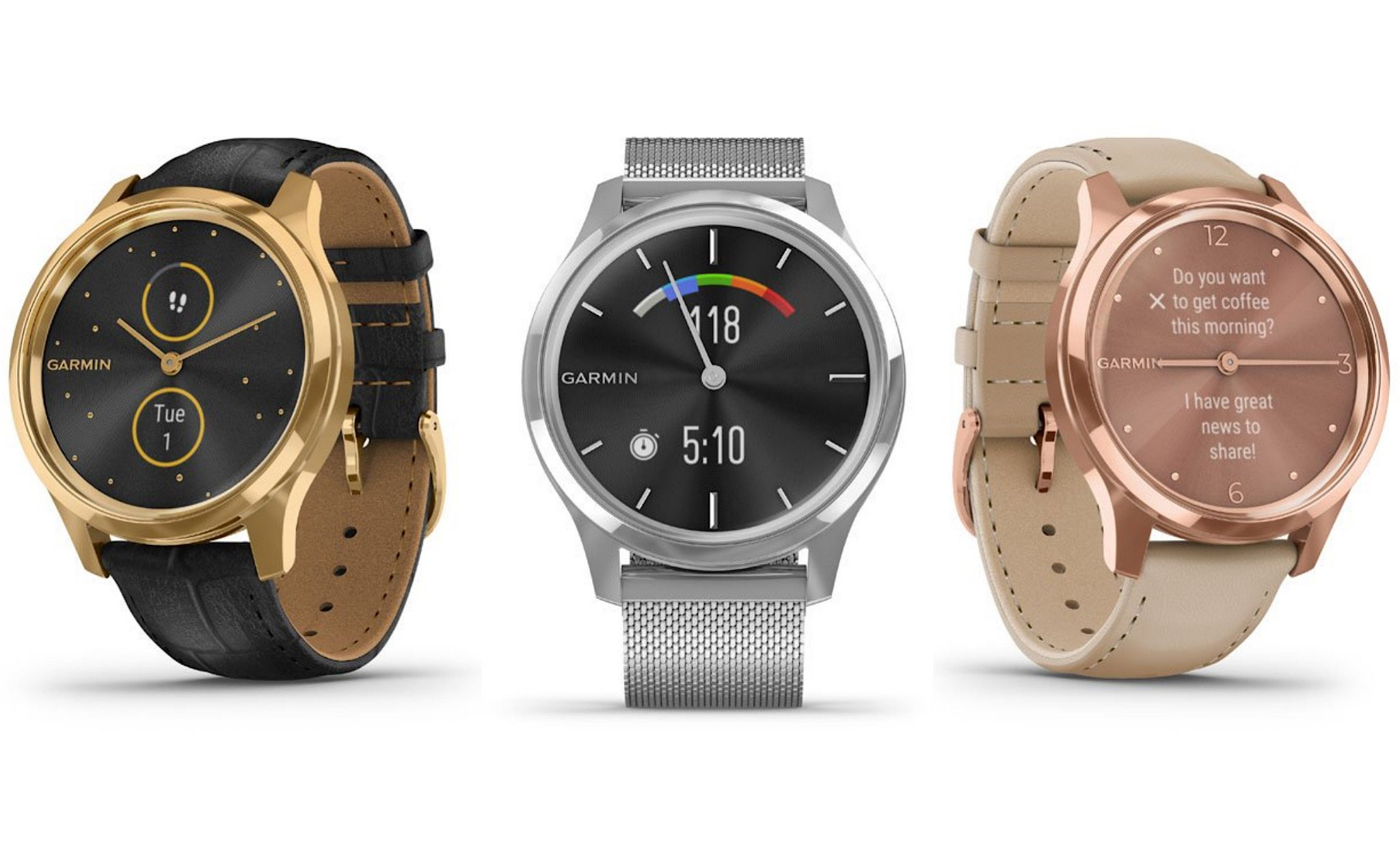 Garmin upgraded the vívomove, adding the Luxe and Style versions with premium materials and a color hybrid screen
