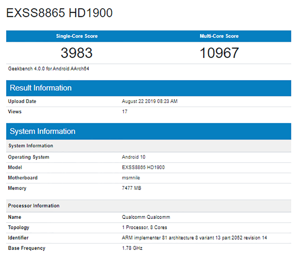 """Sforum - Latest technology information page OnePlus-7T-China-variant-Geekbench OnePlus 7T reveals """"terrible"""" benchmark scores on Geekbench, confirms running SD855 +, Android 10"""