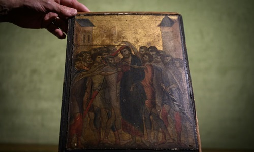 The painting was discovered in the kitchen of an old lady in France. Photo: AFP.