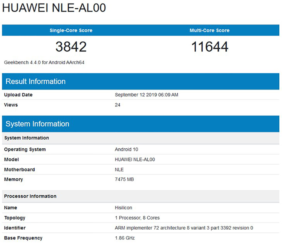 Sforum - HUawei-Mate-30-Geekbench-1 latest technology information page Huawei mysteriously revealed on Geekbench with Kirin 990 chip, 8GB RAM and running Android 10